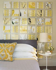 Yellow and Gray Room  Use a piece of nice graphic fabric, cut into squares and framed.