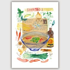 Vietnamese Pho watercolor print Kitchen art Pho by lucileskitchen