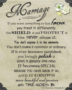 "I don't know about the ""shield and protect"" bit. I think marriages can take rough spots and come out stronger. The rest is great. :)"