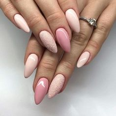Gorgeous soft colour mismatched nail art design