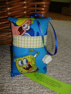 Sponge Bob Tooth Fairy Pillow with tooth by suespecialtyshop, $6.95