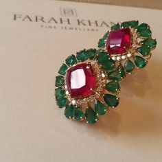 How I love combining colours and lustres. 😍😍😍 Especially strong colours that are vibrant and alive We will be displaying our jewellery in BAHRAIN at JEWELLERY ARABIA 2015 from November to Booth no Do drop in and see our stunning collection. Ruby Jewelry, Emerald Earrings, India Jewelry, Stone Jewelry, Wedding Jewelry, Gold Jewelry, Jewellery Box, Stud Earrings, Jewellery Shops