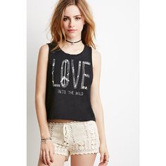 Forever 21 Women's  Distressed Love Graphic Crop Top ($8.99) ❤ liked on Polyvore featuring tops, forever 21 tops, black crop top, forever 21, graphic tops and ripped tops