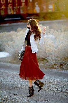 Midi skirt with booties...