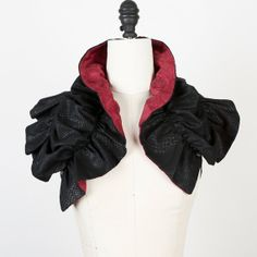 Black and Red Snake Print Mini Scarf Scarflette Wrap by Felinus, $110.00