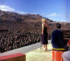 "In February 1954, Marilyn Monroe and Joe DiMaggio were newlyweds, on a trip in Japan, when the bride took a detour to Korea to entertain the troops. She performed ten shows in four days, in front of audiences that totaled more than 100,000 soldiers and marines. Later Monroe recalled that the trip ""was the best thing that ever happened to me. I never felt like a star before in my heart. It was so wonderful to look down and see a fellow smiling at me."""