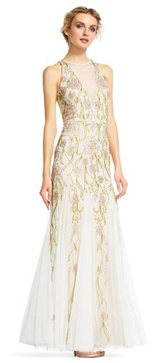 Adrianna Papell | Floral Beaded Halter Dress with Chiffon Godet Skirt