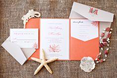 Coral Beach Destination Wedding Invitation Suite, Deposit Listing.