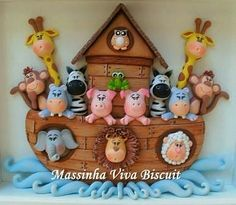 Massinha Viva Biscuit: QUADRINHO ARCA DE NOÉ Polymer Clay Figures, Polymer Clay Animals, Polymer Clay Dolls, Noahs Ark Cake, Noahs Ark Theme, Foam Crafts, Diy And Crafts, Paw Patrol Birthday, Decoupage Vintage