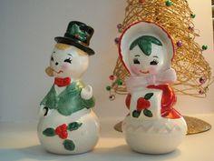 Vintage Lefton Christmas Snowman Couple by ValeriesVintages, $30.00