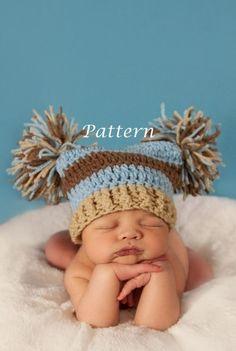 PDF Pattern Double Pom Crochet Hat - Custom Photography Prop (Sizes Newborn - Adult). $3.99, via Etsy. by TerriLeeT