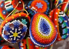 huichol bead art | Small Huichol Egg Ornament