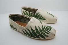 Green fern custom painted TOMS shoes