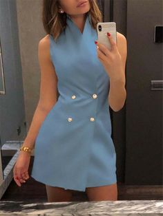 Women Short Bodycon Collar Blazer Double Breasted Sleeveless Dress Fashion Lady Summer High Waist Work Formal Solid Short Dress, Blue / S Casual Dresses, Short Dresses, Fashion Dresses, Summer Dresses, Cheap Dresses, Formal Casual Outfits, Formal Vest, Mini Dresses, Party Dresses
