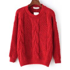Cable Knit Fuzzy Red Sweater (24 AUD) ❤ liked on Polyvore featuring tops, sweaters, red, red top, long sleeve sweaters, acrylic sweater, pullover sweater and red sweater