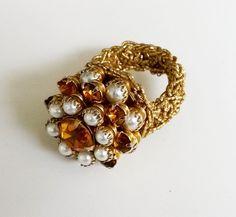 Vtg Amber Rhinestone Fx Pearl Cluster Cocktail Crocheted Adj Ring Gold Tone Sz 7 #NotSigned #Cocktail