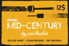 Mid-Century - Dry Paint Brushes  by Guerillacraft on Creative Market