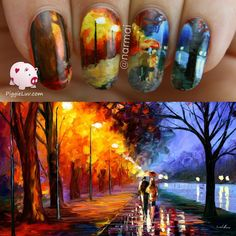 I did #twinnails with the amazing laynopaul on Instagram and we recreated this #painting by Leonid Afremov. Let me know what you think!