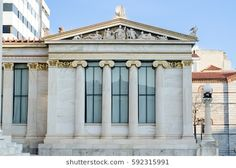 athens academy columns front view