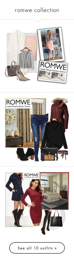 """""""romwe collection"""" by gold-phoenix ❤ liked on Polyvore featuring Oris, MANGO, Reiss, Gianvito Rossi, Improvements, SOREL, Burberry, Home Styles, WithChic and Madison Park"""