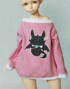 doll clothes BJD clothes Dollfie clothes Leekeworld ART BODY Pink long sleeve dolman kawaii toothless on Etsy, $12.00