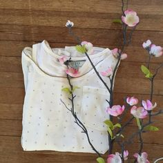 $10 ItemGUESS  Top!  Cute, sheer top.. Cream colored with cute little gold dot embellishments... No stains, snags etc. ✔️Pet free home ✔️Smoke free home...  you for looking Guess Tops