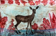 """Original etching """"Kedon hurma"""" by Maarit Kontiainen Mind Up, Illustration Art, Illustrations, Contemporary Art, Moose Art, Gallery, Drawings, Blues, Pictures"""