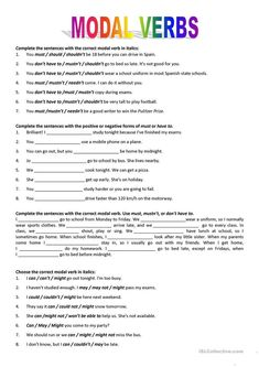 Modal verbs - English ESL Worksheets for distance learning and physical classrooms Grammar Chart, Grammar Quiz, English Grammar Worksheets, Verb Worksheets, Learn English Grammar, Reading Comprehension Worksheets, Kindergarten Math Worksheets, Grammar Lessons, English Lessons