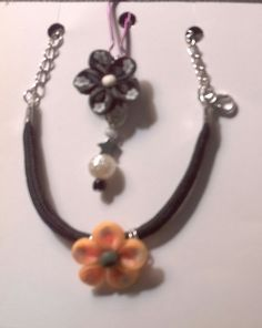 Polymer clay floral bracelet and zipper pull