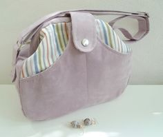 Peekaboo Lilac&Stripes. OOAK, handmade Gladstone style shoulder bag. Pale lilac vegan suede and striped cotton