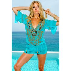 Turquoise Silk Caftan ❤ liked on Polyvore featuring tops and tunics