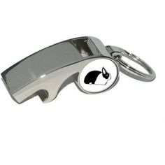 Dutch Rabbit, Plated Metal Whistle Bottle Opener Keychain Key Ring, Silver