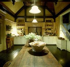 """Who DIDN'T love the Aunts' house in """"Practical Magic""""? :D I'd really love a kitchen like this in my house. Hell, I'd like the whole darn house in my house! Kitchen Sets, Kitchen Dining, Kitchen Magic, Witches Kitchen, Family Kitchen, Kitchen Island, Home Design, Set Design, Design Ideas"""