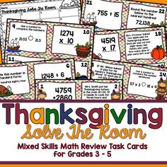 Thanksgiving Math Solve the Room for Grades 3-5