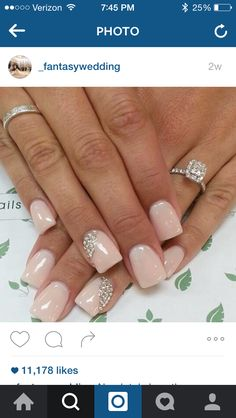False nails have the advantage of offering a manicure worthy of the most advanced backstage and to hold longer than a simple nail polish. The problem is how to remove them without damaging your nails. Marriage is one of the… Continue Reading → Wedding Nail Colors, Wedding Manicure, Wedding Nails For Bride, Bride Nails, Wedding Nails Design, Jamberry Wedding, Pink Wedding Nails, Bling Wedding, Rhinestone Wedding
