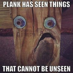 Plank has seen things that cannot be unseen! #woodworking