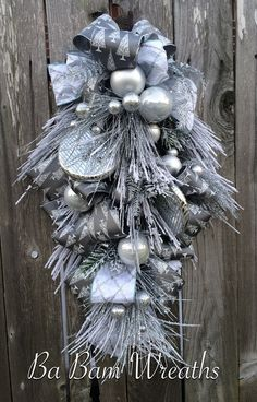 Christmas Wreath, Christmas Swag, Christmas Door Hanging, Holiday Wreath, Holiday Swag, Winter Wreath, Winter Swag  Im Dreaming Of A Silver Christmas.....  Now make your door/entry/mantel dazzling with this gorgeous swag!!! Made with stunning holiday sprays & designer ribbons, beautiful ornaments and radiant style~ this swag is so charming and will turn your home into an inviting place this holiday season. Measures XL at 32 inches