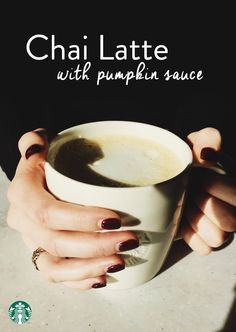 One of our favorite customizations is a half and half Pumpkin Chai—Grande Classic Chai Latte with 2 pumps Chai and 2 pumps Pumpkin Spice. Starbucks Tea, Starbucks Pumpkin Spice, Espresso Drinks, Coffee Drinks, Coffee Latte, My Coffee, Cooking Restaurant, Latte Recipe, Yummy Drinks