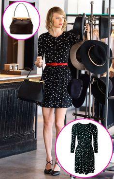 Taylor Swift sabe que no hay nada como invertir en un buen bolso, como el Sara de Dolce&Gabbana, y combinarlo con un vestido low cost para usar en el día a día. Éste es de Asos.