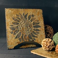 Natural Stone Trivet / Hot Plate - Sunflower on Buff Slate by stonegifts on Etsy