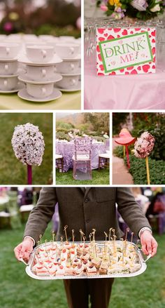 """Alice in wonderland/mad hatter for my moms bday. (Eat me, drink me cards by bite sized food) Tea party set up. Provide crazy hats. Queen for the day, upside umbrellas, cards etc for """"tea party"""""""