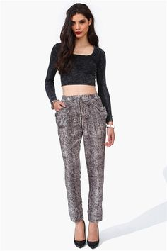 Snake Skin Harem Pants in Black
