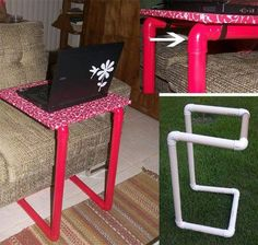 Pvc pipe handmade diy over bed table Pvc Pipe Crafts, Pvc Pipe Projects, Home Projects, Diy And Crafts, Projects To Try, Lathe Projects, Craft Room Storage, Pvc Furniture, Diy Casa