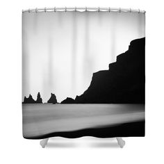 Shower Curtain: Black and white long time exposure photography, minimalist image with stark contrast for your bathroom decoration: Beach with black basalt sand and the water of the ocean. Reynisdrangar, Vik, South Iceland. Matthias Hauser hauserfoto.com