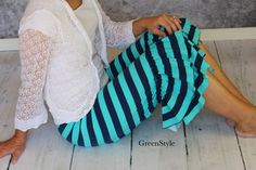 Nautical Navy and Mint Green striped  Willow by Gogreenstyle, Etsy