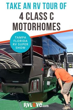 Take a tour of these Class C motorhomes with Marc & Julie from RVLove. We check out Winnebago, Tiffin, and Entegra, plus a huge custom Super C from Showhauler, as seen at the Tampa Florida RV Supershow Travel Hack, Rv Travel, Beach Travel, Adventure Travel, Tampa Florida, Clearwater Florida, Naples Florida, Rv Camping, Camping Trailers