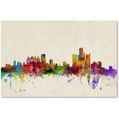 Trademark Fine Art Detroit, Michigan Canvas Art by Michael Tompsett, Size: 16 x 24, Multicolor