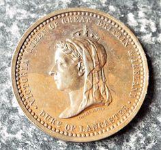 Antique 1887 Queen Victoria Golden Jubilee Bronze Medal / Medallion - Lancaster