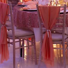We went for a peach chiffon drapes effect for this wedding decor, finished with a peach ribbon tie! Pew Ends, Chair Backs, Wedding Decor, Wedding Day, Peach, Range, Pi Day Wedding, Decor Wedding, Stove