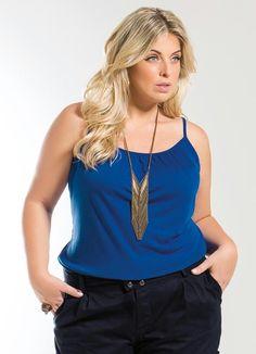 Blusa de Alça Azul Royal Plus Size - Marguerite